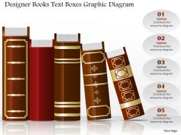 0714 Business Consulting Designer Books Text Boxes Graphic Diagram Powerpoint Slide Template