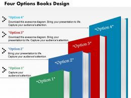 0714 Business Consulting Four Options Books Design Powerpoint Slide Template