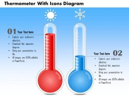 0714 Business Consulting Thermometer With Icons Diagram Powerpoint Slide Template