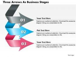 0714 Business Consulting Three Arrows As Business Stages Powerpoint Slide Template