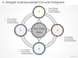 0714 Business Ppt Diagram 4 Staged Interconnected Circular Diagram Powerpoint Template