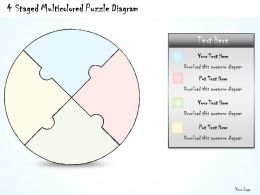 0714 Business Ppt Diagram 4 Staged Multicolored Puzzle Diagram Powerpoint Template