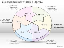0714 Business Ppt Diagram 6 Stage Circular Puzzle Diagram Powerpoint Template
