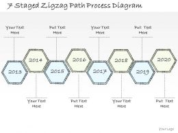 0714 Business Ppt Diagram 7 Staged Zigzag Path Process Diagram Powerpoint Template