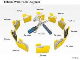 0714 Folders With Tools Diagram Image Graphics For Powerpoint