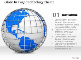 0714 Globe In Cage Technology Theme Diagram Image Graphics For Powerpoint