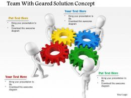 0714 Team With Geared Solution Concept Diagram Image Graphics For Powerpoint