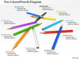 0714 Ten Colored Pencils Diagram Image Graphics For Powerpoint
