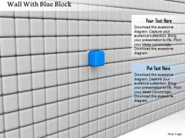 0714 Wall With Blue Block Diagram Image Graphics For Powerpoint