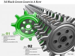 0814 3D Black Gears With One Green Standing Out To Show Leadership Image Graphics For Powerpoint