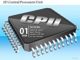 0814 3D Central Processors Unit CPU GPU Chip Microprocessor Icon On Motherboard Ppt Slides