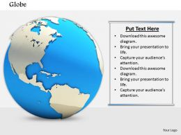 0814 3D Globe Graphic On White Background To Show Global Business Image Graphics For Powerpoint