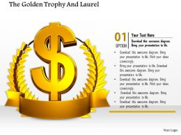 0814 3D Golden Laurel With Dollar Symbol For Financial Success Image Graphics For Powerpoint