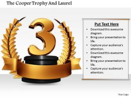 0814 3D Graphic Of Third Position In Laurel On White Background Image Graphics For Powerpoint