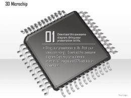 0814 3D Image Of A Microchip Microprocessor With Connections Coming Out CPU GPU Ppt Slides