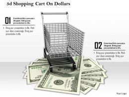 0814 3D Shopping Cart On Dollars Image Graphics For Powerpoint