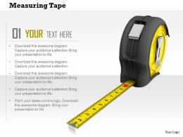 0814 3d Yellow And Black Measuring Tape For Professional Use Image Graphics For Powerpoint