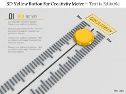 0814 3d Yellow Button For Creativity Meter Image Graphics For Powerpoint