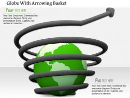 0814 Arrow Over The Globe Shows Business And Marketing Image Graphics For Powerpoint