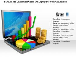 0814 Bar And Pie Chart With Coins On Laptop For Growth Analysis Image Graphics For Powerpoint