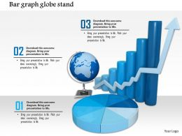0814 Bar Graph With Growth Arrow And Globe Pie Chart For Business Result Analysis Image Graphics For Powerpoint