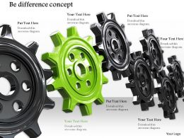 0814 Be Different Concept Shown By Black Gears And One Green Gear In The Middle Image Graphics For Powerpoint