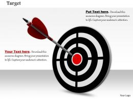 0814 Black Dart With Arrow On Bulls Eye Shows Target Success Image Graphics For Powerpoint