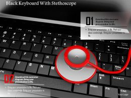 0814 Black Keyboard With Stethoscope Image Graphics For Powerpoint