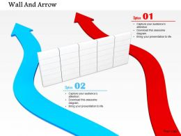 0814 Blue And Red Arrows Passing From The Side Of Wall Image Graphics For Powerpoint