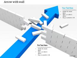 0814 Blue Arrow Breaking The Wall Shows Problem Solving Concept Image Graphics For Powerpoint