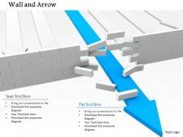 0814 Blue Arrow Breaking Wall Shows Solution Finding Image Graphics For Powerpoint