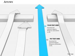 0814 Blue Arrow Crossing Wall With White Arrows Shows Leadership Image Graphics For Powerpoint