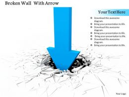 0814 Blue Arrow In Downward Direction With Crack Effect Background Image Graphics For Powerpoint