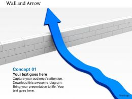 0814 Blue Arrow Moving Upward From A Wall Shows Growth Image Graphics For Powerpoint