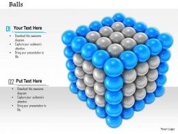0814 Blue Balls In The Corners Of Grey Cube Shows Teamwork Image Graphics For Powerpoint