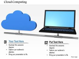 0814 Blue Cloud Connected With Laptop Shows Networking Image Graphics For Powerpoint