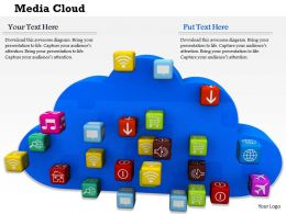 0814 Blue Cloud With Multiple Applications For Internet Image Graphics For Powerpoint