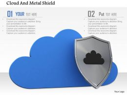 0814 Blue Cloud With Safety Shield For Protection Image Graphics For Powerpoint