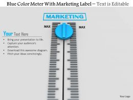 0814 Blue Color Meter With Marketing Label Image Graphics For Powerpoint