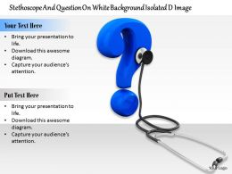 0814 Blue Colored Question Mark With Stethoscope Medical Diagram Image Graphics For Powerpoint