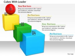 0814 Blue Green And Yellow Cubes With Red Ball On Top Shows Leadership Image Graphics For Powerpoint