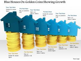 0814_blue_houses_on_golden_coins_showing_growth_image_graphics_for_powerpoint_Slide01