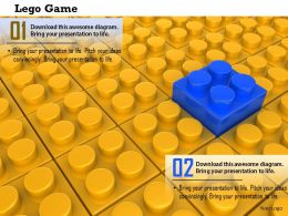 0814 Blue Lego On Yellow Lego Background Shows Leadership Image Graphics For Powerpoint