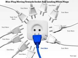 0814 Blue Plug Moving Towards Socket And Leading White Plugs Image Graphics For Powerpoint