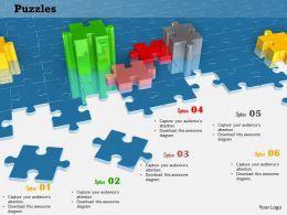 0814 Blue Puzzle Background With Red Green And Yellow Puzzles Shows Teamwork Image Graphics For Powerpoint