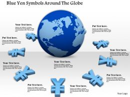 0814 Blue Yen Symbols Around The Globe Image Graphics For Powerpoint