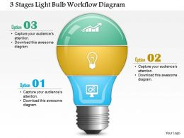 0814 Business Consulting 3 Stages Light Bulb Workflow Diagram PowerPoint Slide Template