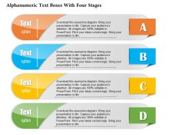 0814 Business Consulting Alphanumeric Text Boxes With Four Stages Powerpoint Slide Template