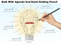 0814 Business Consulting Bulb With Agenda And Hand Holding Pencil Powerpoint Slide Template