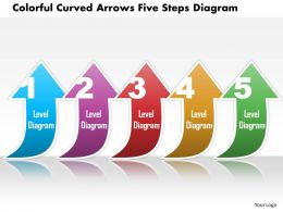 0814 Business Consulting Colorful Curved Arrows Five Steps Diagram PowerPoint Slide Template